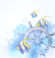 Hand drawn steering wheel and tropical fishes vector image