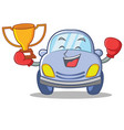 boxing cute car character cartoon vector image