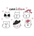 Cute cat doodle series cat avatars Cats sketch vector image