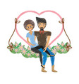 drawing couple love together in swing vector image