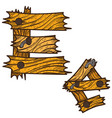 letter e from wooden planks alphabet vector image