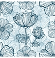 Monochromatic poppy flowers seamless pattern vector image