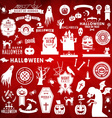 Set of Happy Halloween white silhouettes on red vector image