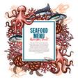 Menu for seafood or fish food restaurant vector image