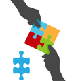 collaborate puzzle vector image