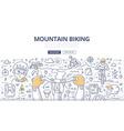 Mountain Biking Doodle Concept vector image