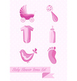 Baby shower girl icons set design vector image