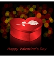 Box in heart shape red with gold and rose on a vector image