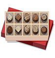 box of chocolate with red lid vector image