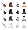 costume hat spain and other web icon in cartoon vector image