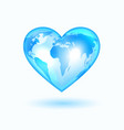 heart with the world map vector image