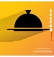 Restaurant cloche Flat modern web button with long vector image