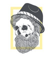 stylish skull with a beard in a summer hat vector image