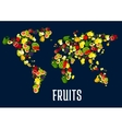 Map of world continents designed of fruits vector image vector image