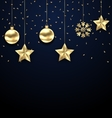 Christmas Dark Background with Golden Baubles vector image vector image