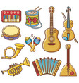 musical instruments design set monochrome vector image