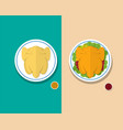 top view headless steamed chicken and roasted duck vector image