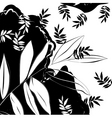 monochrome background with decorative leaves vector image vector image