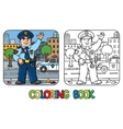 Funny policeman Coloring book vector image