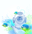 Vintage diving helmet and tropical fishes vector image