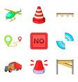 city navigation mark icon set cartoon style vector image
