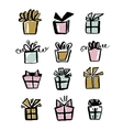 Collection of gift icons make with brush and ink vector image