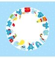 Cute penguins round frame vector image