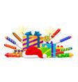 fireworks rockets gift boxes and santas hat set vector image
