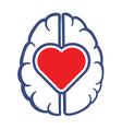 heart symbol and human brain vector image