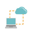 laptop synchonization cloud icon vector image