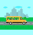 children traveling by bus on travel vector image vector image