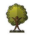 human figure with tree plant ecological icon vector image