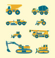 flat set of construction vehicles icons vector image
