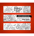 Set of doodles Valentines banners vector image