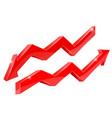 arrows red financial indication arrows vector image
