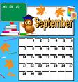 calendar for September and school books vector image