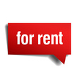 for rent red 3d realistic paper speech bubble vector image