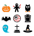 Halloween icons set - pumpkin witch ghost vector image