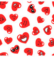pattern with red hearts with smiley faces vector image
