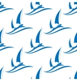Yachting seamless pattern with blue boats vector image