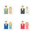 stylish concept paper sticker bride and groom vector image