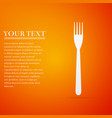 fork flat icon on orange background vector image vector image