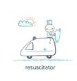 resuscitator rides in the ambulance vector image vector image