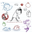 Healthy lifestyle doodle set vector image vector image