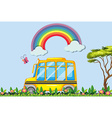 Yellow school bus in the park vector image vector image