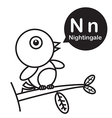 N Nightingale cartoon and alphabet for children to vector image