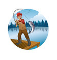 old man cartoon fishing trout fish vector image