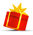 Red Gift Box with Gold Ribbon - 3D Present Box vector image