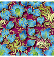 seamless blue floral ornament on pink background vector image