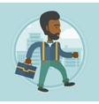 Successful businessman walking in the city vector image